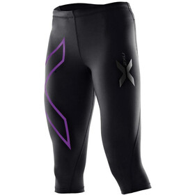 2XU W's Compression 3/4 Tights Black/Purple Laquer logo